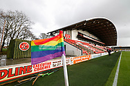 A rainbow coloured corner flag, part of the Rainbow Laces campaign to promote LGBT inclusivity in football, during the EFL Sky Bet League 1 match between Fleetwood Town and Blackpool at the Highbury Stadium, Fleetwood, England on 25 November 2017. Photo by Paul Thompson.