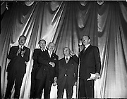 05/02/1960<br /> 02/05/1060<br /> 05 February 1960 <br /> Premiere of Mise Eire at the Regal Cinema, Dublin.  Picture shows Donall Ó Morain, right, Chairman Gael Linn, introducing two of the surviving Dublin printers who printed the 1916 Proclamation, Christy Brady (third from left) and Michael Molloy (second from right) t the distinguished audience at the premiere. Also on the platform are Sean Ó Riada (left) who composed the music for the film and George Morrison (2nd from left) who directed the film.