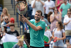 August 9, 2018 - Toronto, Ontario, Canada - GRIGOR DIMITROV of Bulgaria celebrates after winning his third round match vs. F. Tiafoe in the Rogers Cup tennis tournament in Toronto Canada. (Credit Image: © Christopher Levy via ZUMA Wire)