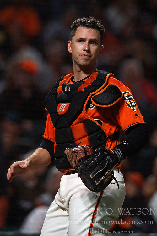 SAN FRANCISCO, CA - JULY 13: Buster Posey #28 of the San Francisco Giants stands behind home plate during the seventh inning against the Oakland Athletics at AT&T Park on July 13, 2018 in San Francisco, California. The San Francisco Giants defeated the Oakland Athletics 7-1. (Photo by Jason O. Watson/Getty Images) *** Local Caption *** Buster Posey