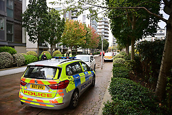 © Licensed to London News Pictures. 06/10/2020. London, UK. The scene at Clayponds Lane, Brentford where the bodies of two people, a woman and a child were discovered at a residential property. A man, believed aged in his 40s, was found suffering stab injuries. Photo credit: Ben Cawthra/LNP