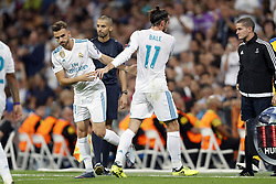 (L-R) Borja Mayoral of Real Madrid, Gareth Bale of Real Madrid during the UEFA Champions League group H match between Real Madrid and APOEL FC on September 13, 2017 at the Santiago Bernabeu stadium in Madrid, Spain.