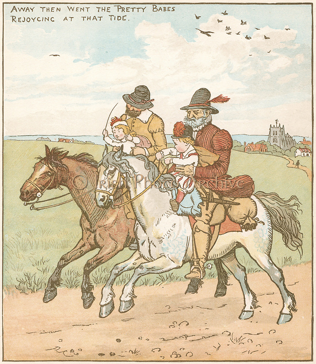 The Babes (or Children) in the Wood. Orphaned Babes taken off to be murdered by ruffians hired by wicked uncle.  Illustration by Randolph Caldecott (1846-86) for the ballad of c1600.