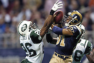 St. Louis Rams wide receiver Torry Holt (81) pulls in a 44 yard touchdown pass over New York Jets Erik Coleman (26) late in the second quarter, giving the Rams a 14-10 lead.  The Rams defeated the Jets in overtime 32-29 at the Edward Jones Dome in St. Louis, Missouri, January 2, 2005.