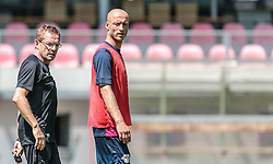 07.07.2015, Steinbergstadion, Leogang, AUT, Trainingslager, RB Leipzig, im Bild v.l.: Ralf Rangnick (Trainer RB Leipzig) und Tim Sebastian (RB Leipzig) // during the Trainingscamp of German 2nd Bundesliga Club RB Leipzig at the Steinbergstadium in Leogang, Austria on 2015/07/07. EXPA Pictures © 2015, PhotoCredit: EXPA/ JFK