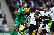 Preston North End goalkeeper Chris Maxwell (22) claims a cross during the EFL Sky Bet Championship match between Preston North End and Brighton and Hove Albion at Deepdale, Preston, England on 14 January 2017.