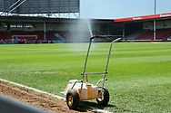 Ground staff preparing the pitch during the UEFA European Under 17 Championship 2018 match between England and Italy at the Banks's Stadium, Walsall, England on 7 May 2018. Picture by Mick Haynes.