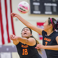 101614       Cable Hoover<br /> <br /> Gallup Bengals Allysen Yazzie (18) and Kendall Toadlena (7) bump the ball to the Miyamura Patriots Thursday at Miyamura High School Thursday.