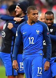 France's Kylian Mbappé during the World Cup Group A qualifying soccer match between France and Belarus at the Stade de France stadium in Saint-Denis, outside Paris, Tuesday, Oct.10, 2017. Photo by Christian Liewig/ABACAPRESS.COM