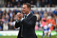 Plymouth Argyle manager Derek Adams during the EFL Sky Bet League 1 match between Bristol Rovers and Plymouth Argyle at the Memorial Stadium, Bristol, England on 8 September 2018.