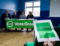 Pictured: Andy Wightman, Local Government Spokesperson, Patrick Harvie, Maggie Chapman, Co-convener and Alison Johnston candiate for Lothian<br /> <br /> Patrick Harvie, Co-Convenor of the Scottish Green Party met children at the Enjoy-a-Ball Holiday camp taking place at the North Merchiston Community Centre ahead of Tuesday's TV debate. Mr Harvie was joined by fellow MSP candidates Andy Wightman, Local Government Spokesperson, Maggie Chapman, Co-convener and Alison Johnston candiate for Lothian to present taxation proposals and answer questions.<br /> <br /> Ger Harley | EEm 29 March 2016