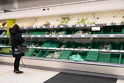 © Licensed to London News Pictures. 23/12/2020. London, UK. A Waitrose supermarket in Bloomsbury shows empty shelves of fresh vegetables. The current restrictions by the French government to enter from the UK due to a new Covid-19 pandemic may hamper fresh produce being delivered from mainland Europe. Photo credit: London News Pictures