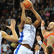 Anadolu Efes's and Banvit's during their BEKO Basketball League match Anadolu Efes between Banvit at Abdi Ipekci Arena in Istanbul Turkey on Sunday 05 January 2014. Photo by TURKPIX