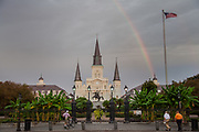 A rainbow appears over the St. Louis Cathedral in the French Quarter of New Orleans. ©Kathy Anderson, All Rights Reserved
