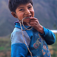 PERU. Youngster in Unamen village,  Cordillera Central region of Andes.