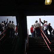 Fans make their way to their seats during the Boston Red Sox V Tampa Bay Rays, Major League Baseball game on Jackie Robinson Day, Fenway Park, Boston, Massachusetts, USA, 15th April, 2013. Photo Tim Clayton