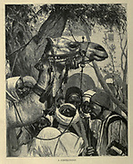 wood engraving of A Caravan of Camels in the desert From the book 'Picturesque Palestine, Sinai and Egypt : social life in Egypt; a description of the country and its people' with illustrations on Steel and Wood by Wilson, Charles William, Sir, 1836-1905; Lane-Poole, Stanley, 1854-1931. Published by J.S. Virtue in London in 1884