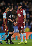 Tyrone Mings of Aston Villa blains his innocence during the Premier League match at the King Power Stadium, Leicester. Picture date: 9th March 2020. Picture credit should read: Darren Staples/Sportimage