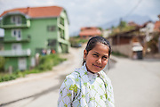 Portrait of a girl at the Roma part of the city of Vinica in Macedonia.