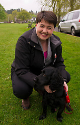 Pictured: Ruth Dadidson and her dog Wilson<br /> <br /> Scottish Tory leader Ruth Davidson and Scottish Secretary David Mundell took to the campaign trail in West Linton today.<br /> <br /> Ger Harley | EEm 13 May 2017