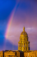 Colorado State Capitol Building with rainbow above, Downtown Denver, Colorado USA.