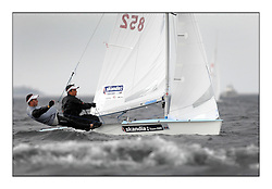 470 Class European Championships Largs - Day 1.Racing in grey and variable conditions on the Clyde..GBR852, Philip SPARKS, David KOHLER,  RLYC