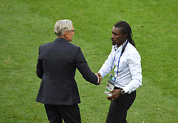 MOSCOW, June 19, 2018  Poland's head coach Adam Nawalka (L) and Senegal's head coach Aliou Cisse greet each other after a Group H match between Poland and Senegal at the 2018 FIFA World Cup in Moscow, Russia, June 19, 2018. Senegal won 2-1. (Credit Image: © Wang Yuguo/Xinhua via ZUMA Wire)