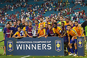 Barcelona players celebrate winning during the International Champions Cup match between Real Madrid and FC Barcelona at the Hard Rock Stadium, Miami on 29 July 2017.
