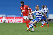 Paul McShane of Reading (r)  in action. EFL Skybet  championship match, Reading  v Huddersfield Town at The Madejski Stadium in Reading, Berkshire on Saturday 24th September 2016.<br /> pic by John Patrick Fletcher, Andrew Orchard sports photography.