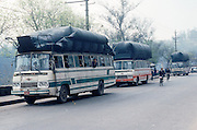 Natural gas fills the bags atop these buses and fuels them in the town of Zigong in the Sichuan Province of China.