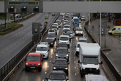 © Licensed to London News Pictures. 28/04/2020. London, UK. Traffic builds up on the A102M Blackwall Tunnel approach in Greenwich south east London.The public have been told they can only leave their homes when absolutely essential, in an attempt to fight the spread of coronavirus COVID-19 disease. Photo credit: George Cracknell Wright/LNP
