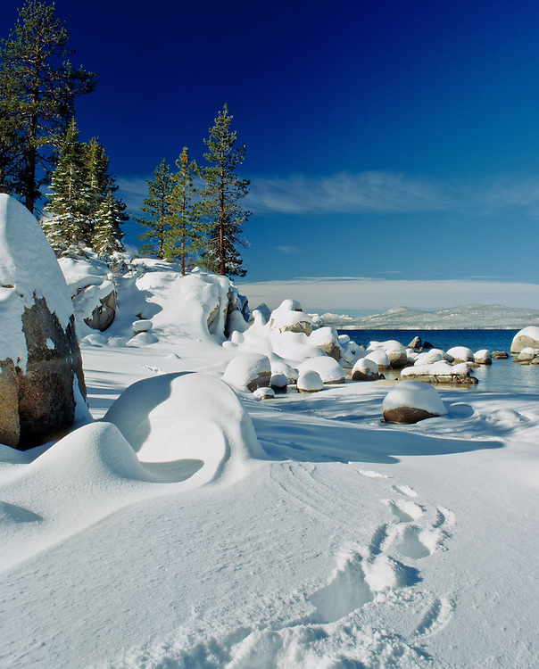 Lake Tahoe Scenic Winter Foot Prints Lake Tahoe
