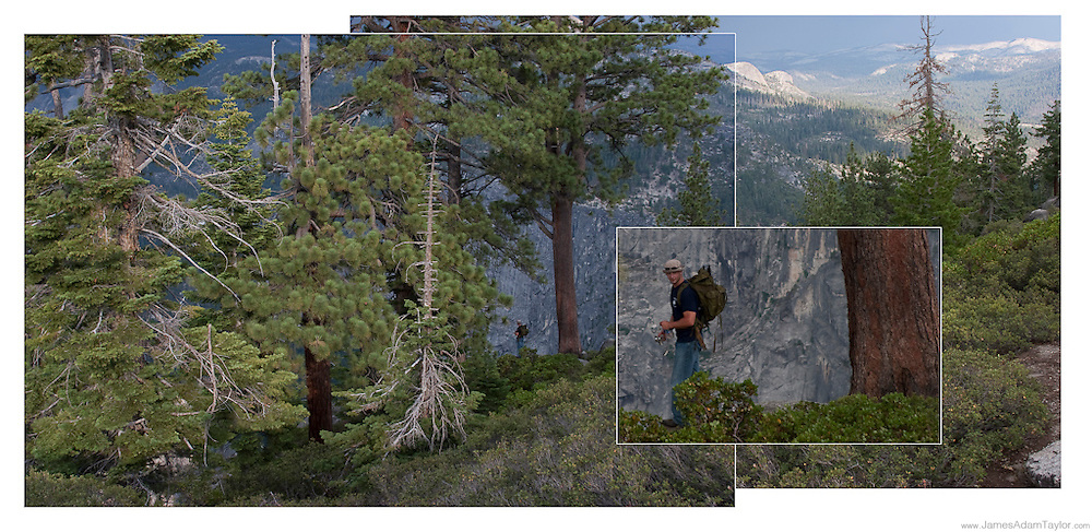Jesse Hegeman, stands at the edge of a cliff along the rim of Yosemite valley.