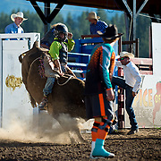 Tyrell Toren on Red Eye Rodeo bucking bull Butt Ugly at the Darby MT Elite Proffesionals Bull Riding Event July 7th 2017.  Photo by Josh Homer/Burning Ember Photography.  Photo credit must be given on all uses.