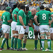 """Paul O""""Connell, (facing) talking with the Irish forwards during the Ireland V Wales Quarter Final match at the IRB Rugby World Cup tournament. Wellington Regional Stadium, Wellington, New Zealand, 8th October 2011. Photo Tim Clayton..."""