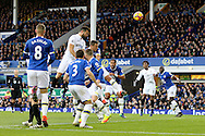 Jordi Amat of Swansea City heads goalwards but sees his effort saved. Premier league match, Everton v Swansea city at Goodison Park in Liverpool, Merseyside on Saturday 19th November 2016.<br /> pic by Chris Stading, Andrew Orchard sports photography.