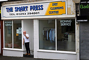 The Smart Press dry cleaners shop, on 21st April 2021 in Blackpool, Lancashire, United Kingdom. Blackpool is a large town and seaside resort in the county of Lancashire on the north west coast of England. Blackpool was once a booming resort with it's famous promenade which now, despite having a somewhat shabby appearance, still continues to attract millions of visitors each year. During the coronavirus pandemic however, Blackpool has struggled, with empty streets and closed down businesses creating an atmosphere more like a ghost town.