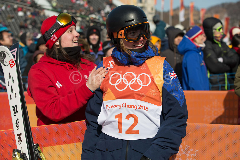 Isabel Atkin with fellow team mate, Molly Summerhayes, after winning bronze at the womens ski slopestyle contest at the Pyeongchang Winter Olympics on 17th February 2018 at Phoenix Snow Park in South Korea