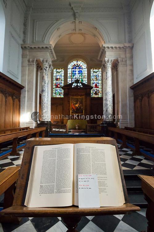 Interior of Pembroke College chapel, Cambridge University, England.