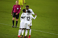 Nathan Dyer of Swansea city (12)  celebrates with teammates Wayne Routledge and Tammy Abraham after he scores his teams 2nd goal . The Emirates FA Cup, 4th round replay match, Swansea city v Notts County at the Liberty Stadium in Swansea, South Wales on Tuesday 6th February 2018.<br /> pic by  Andrew Orchard, Andrew Orchard sports photography.