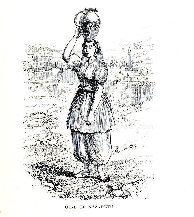 Girl of Nazareth with water jug on her head From the Book 'Bible places' Bible places, or the topography of the Holy Land; a succinct account of all the places, rivers and mountains of the land of Israel, mentioned in the Bible, so far as they have been identified, together with their modern names and historical references. By Tristram, H. B. (Henry Baker), 1822-1906 Published in London in 1897