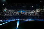 AC Milan fans use mobile phone flashlights to display a message for Inter fans creating the words Inter Excrement during the Serie A match at Giuseppe Meazza, Milan. Picture date: 9th February 2020. Picture credit should read: Jonathan Moscrop/Sportimage