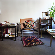 A 1960s era modern brown leather chair on a plain grey rug, a small ethnic patterned rug under the chair. There is a standing lamp and a plant on the right, a couch and black side table with telephone and papers on the left, and a glass table with more papers in the right foreground.