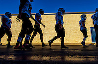 The Bear River Bruins leave the locker room before the game before the game of the Division V Sac-Joaquin Section final football game played at Elk Grove High School, Saturday Nov 28, 2015.<br /> Brian Baer/Special to the Bee