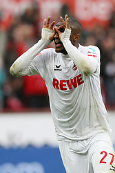 COLOGNE, March 19, 2017  Anthony Modeste of 1. FC Koeln celebrates after scoring during the Bundesliga match between 1. FC Koeln and Hertha BSC in Cologne, Germany, on March 18, 2017. The team of 1. FC Koeln won 4-2. (Credit Image: © Ulrich Hufnagel/Xinhua via ZUMA Wire)