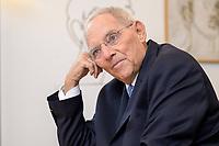 06 NOV 2019, BERLIN/GERMANY:<br /> Wolfgang Schaeuble, CDU, Bundestagspraesident, waehrend einem Interview, in seinem Buero, Reichstagsgebaeude, Deutscher Bundestag<br /> IMAGE: 20191106-02-032<br /> KEYWORDS: Wolfgang Schäuble
