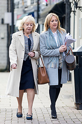 © Licensed to London News Pictures. 15/11/2017. Wakefield, UK. Sheila Connor & Denise Courtney (sisters of Ann Maguire) arrive for the third day of the Ann Maguire inquest at Wakefield Coroners Court this morning. Mrs Maguire, a 61 year old Spanish teacher, was stabbed to death by Will Cornick at Corpus Christi Catholic College in Leeds in April 2014. The school pupil, who was 15 at the time, admitted murdering Mrs Maguire and was given a life sentence later that year. Since then, some of Mrs Maguire's family have campaigned for further investigation into her death as they believe more could have been done to prevent the tragedy. Photo credit: Andrew McCaren/LNP