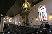 Inside historic Nykirken church, city of Bergen, Norway