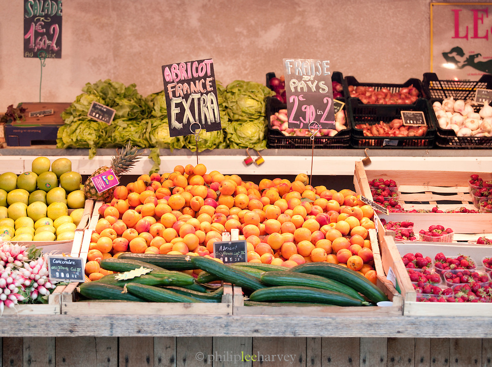 Fresh fruit and vegetables for sale at a market in Saint-Martin-de-Ré, Ile de Ré, France
