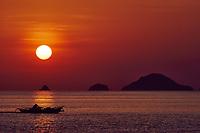 seascape  at sunset between El Nido and coron in Palawan Philippines Palawan Philippines